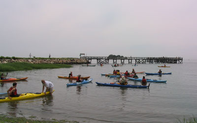 Kayak for a Cause: two of the on-water rescue classes, Norwalk, CT -2006